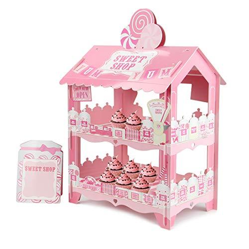 Kitchnexus Wagendesign Kuchenständer Pappe Cupcake Gebäck Dessert Muffinständer Für Geburtstag Hochzeit Party (rosa)