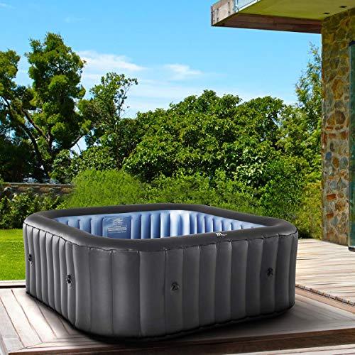 Whirlpool aufblasbar MSpa Tekapo für 6 Personen 185x185cm In-Outdoor Pool 132 Massagedüsen Timer Heizung Aufblasfunktion per Knopfdruck TÜV geprüft Bubble Spa Wellness Massage