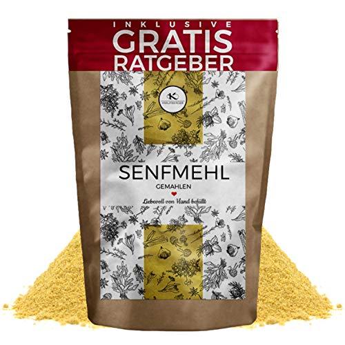 Senfmehl Senfpulver gelb fein 250g I gemahlene Senfsamen Senfkörner teilentölt inkl. gratis Ratgeber I aromatisches Küchengewürz zur Senf Herstellung