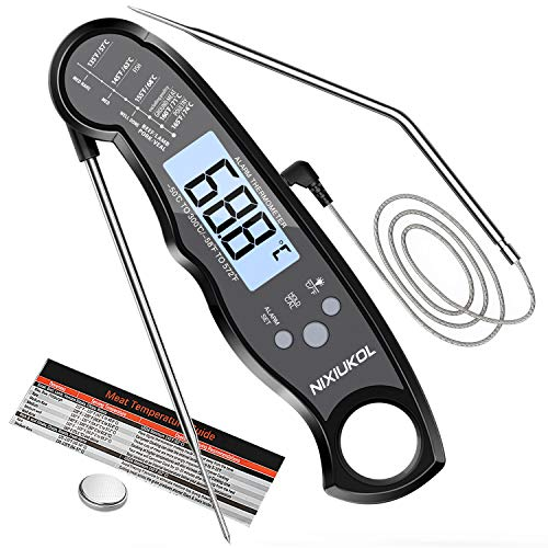 NIXIUKOL Digital Fleischthermometer Grillthermometer 2-in-1 Bratenthermometer mit 2 Edelstahlsonden, Sofortiges Auslesen, LCD Display, Magnet, Küchen Thermometer für Grill BBQ Braten Ofen