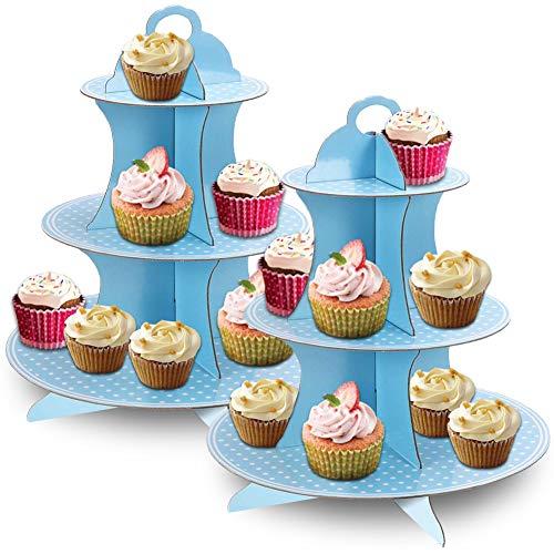 JINLE 2 Stück Tortenständer aus Karton Etagere 3 Etagen Servierständer Muffinständer, Blau Tupfen Cupcake Ständer für Geburtstag Party, Kaffeetafel, Hochzeit, Babypartys - Wiederverwendbar