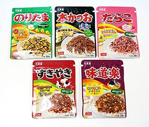 Marumiya Furikake Japanische Reisgewürze, 5 Packungen Noritama, Sukiyaki, Okaka (Bonito), Tarako (Dorschroh)