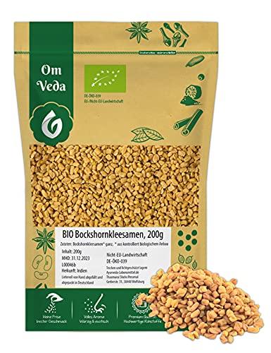BIO Bockshornklee Ganz 200g   Bockshornkleesamen Bockshornkleesaat Indisches Gewürz   Organic Bio-zertifiziert DE-ÖKO-039   Fenugreek Methi Seeds   Für Leckere Küche und Tee