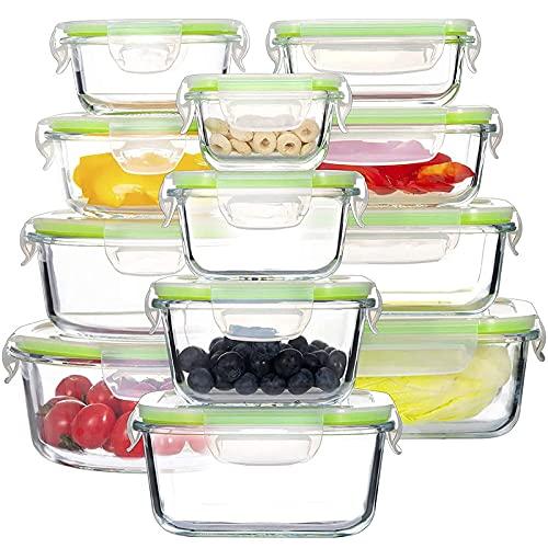 GENICOOK Glas-FrischhaltedosenSet-Glasbehälter/Brotdose/vorratdose/Aufbewahrungsbehälter - BPA frei und LFGB-zugelassen für Home Küche oder Restaurant (12er)