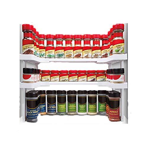 Stackable Gewürzregal Stapelbares Gewürzregal Gewürz-Ständer Verstellbar Regal für Küchenschränke bis zu 64 Gewürze für Dosen und Gläser für Küchenschränke Küchenregal zur platzsparenden Aufbewahrung