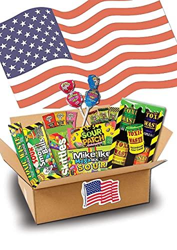 Süßigkeiten Box - USA Sweets - 17 SAURE Leckereien - Perfekte Geschenkidee - Box voller TOP Bestseller- USA Import