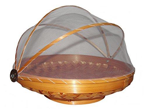 Unbekannt Obstschale mit Fliegenschutz/Insektenschutz 30cm Obstkorb mit Haube Korb aus Rattan