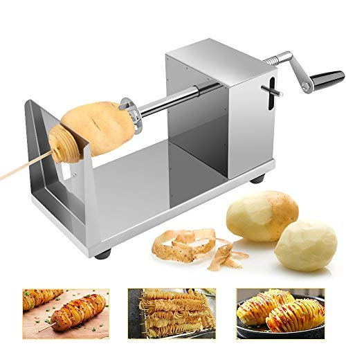 Spiralschneider Kartoffelschneider Kartoffel Twister, Uten Gemüse Schneider aus Edelstahl mit Kurbel und rutschfesten Gummifüßen für Obst, Kartoffeln,Tornado Chips, Gurken oder Karotten