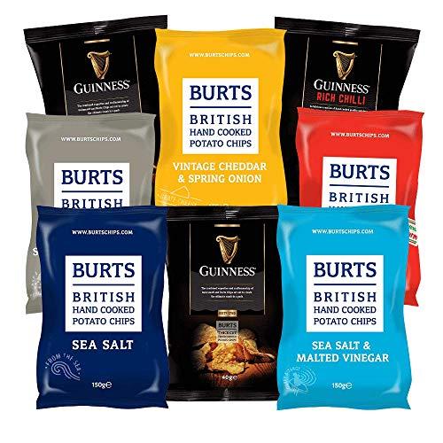 BURTS Partybox | 8 Chips Tüten - 7 Sorten | Original Britisch | Kartoffelchips | 150 g