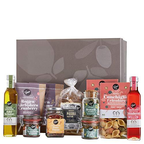 Gepp's Feinkost Basic Paket Familie | Vorratspaket mit Delikatessen, wie Bio Pasta, Edelkräuter Olivenöl, Grissini aus dem Piemont | Geschenkset für Feinschmecker oder für den Vorrat (A0060)