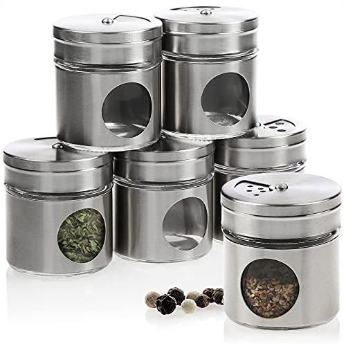 com-four® 6-teiliges Gewürzstreuer Set aus Edelstahl für Salz, Pfeffer, Gewürze, Kräuter - Kräuterdose, Gewürzdose, Gewürzbehälter (06-teilig)