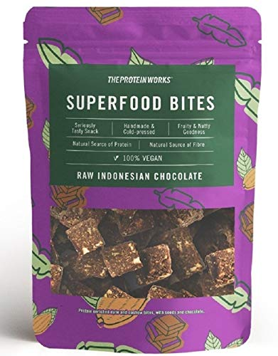 THE PROTEIN WORKS Superfood Bites   100% Vegan   Natürlicher & Gesunder Snack   Pflanzlich   Roher indonesischer Kakao   140g