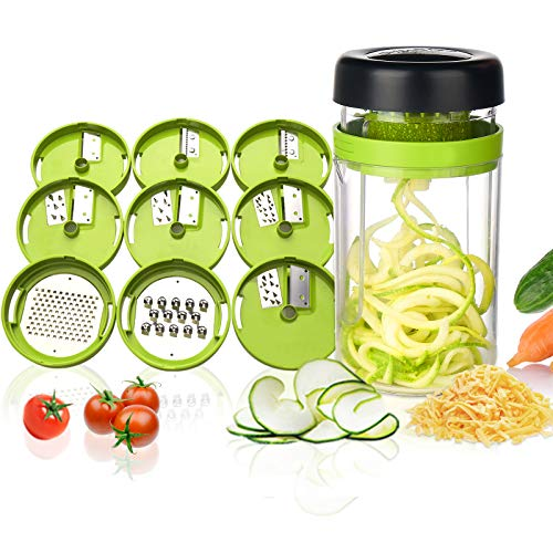 Adoric Gemüse Spiralschneider, 9 in 1 Gemüseschneider mit Behälter, Hand Gemüse Spirallschneider Gemüsehobel Schneider Für Gemüsespaghetti, Gurke, Kürbis, Zucchini, Zwiebel