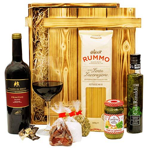 Geschenkset Verona   Italien Geschenkkorb gefüllt mit Wein, italienischen Spezialitäten & Holzkiste   Feinkost Präsentkorb mit Rotwein und Delikatessen für Männer & Frauen