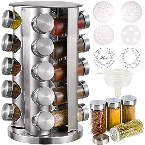 CAM2 Gewürzregal Mit 20 Gewürzgläsern (ohne Würze),360° Drehbares Gewürzkarussell Bei 4 Sprache Zettel,430-Edelstahl-Rotationsküchen-Gewürzständer,Mit Vielzahl von Ersatzgewürzflaschenverschlüssen