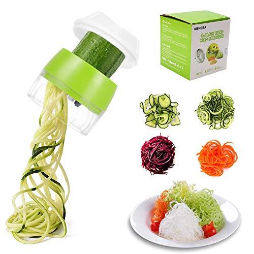 TOCYORIC Spiralschneider Gemüse, 4 in1 Spiralschneider Hand für Gemüsespaghetti, Zucchini Spaghetti Schneider für Zwiebeln Karotten Gurke Gemüsehobel Spiralschneide