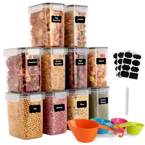 GoMaihe 1.6L Vorratsdosen 10 Set, Aufbewahrungsbox Küche Luftdicht Behälter aus Plastik Mit Deckel, Vorratsgläser zur Aufbewahrung von Nudeln, Müsli, Reis, Mehl, und für Futter Haustiere, MEHRWEG