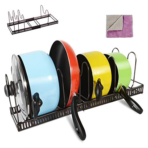 Masthome Pfannenhalter Verstellbar mit Reinigungstuch für Küche,Pfannen Regal Küche Rutchfest für Töpfe,Pfannen und Geschirrset geeignet
