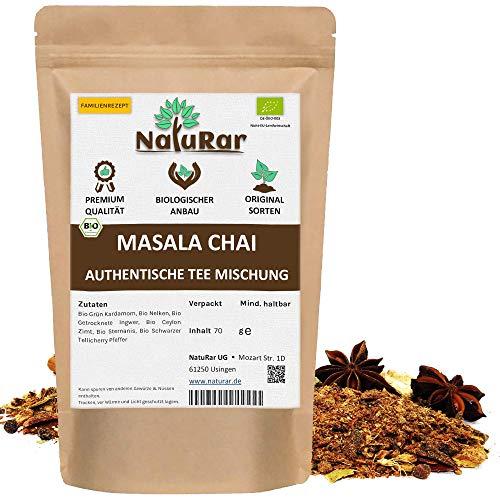 Bio Masala Chai Gewürzmischung vom NatuRar 70g | Perfekt Mischung für indische Gewürztee | Einzigartige Familienrezept | 100% Natürliche Bio Zutaten