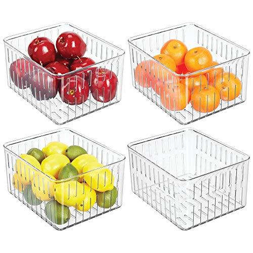mDesign 4er-Set geräumige Kühlschrankbox – praktischer Vorratsbehälter ohne Deckel – große Frischhaltedose mit Seitenöffnungen – durchsichtig