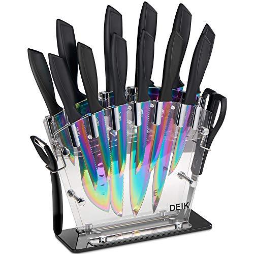 Deik Messerblock Set   16-TLG Messerset   Profi Kochmesser mit Präzisionsklingen   rostfreier Edelstahl Titanbeschichtung  ergonomische Griffe   inkl. Küchenschere und Wetzstahl Stange   Acrylstand