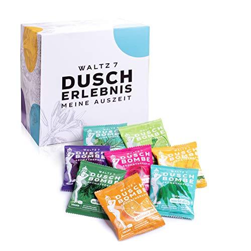 WALTZ7 Original Duschbomben Set, 16 Stück mit 8 Düften, Aromatherapie mit natürlichen ätherischen Ölen, Wellness Geschenkset, Qualitätsmarke aus Österreich, Geschenk für Frauen