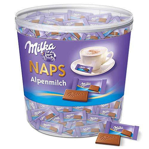 Milka Naps Alpenmilch 1 x 1kg, Zartschmelzende Mini-Schokoladentäfelchen aus feiner Alpenmilchschokolade, Dose