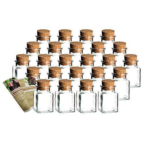 gouveo 24er Set Gewürzgläser Quadrat 150 ml mit Presskorken Rezeptbroschüre, Ideal für Gastgeschenke, Korkengläser, Glasdose, Aufbewahrungsglas, Korkenglas eckig