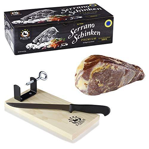 RAMOS Premium Serrano-Schinken | 1kg im Geschenkkarton | Oro Reserva | Mind. 12 Monate luftgetrocknet | TSG-zertifiziert | Garantiert traditionelle Spezialität | Schinkenbrett und -messer gratis