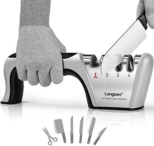 longzon Messerschärfer, 4 Stufen Manuelle Messerschleifer mit Anti-Schneidhandschuhe für Grobschärfen und Scheren Schleifen, Diamant für Feinschärfen und Spezialkeramik für Präzisionsschärfen