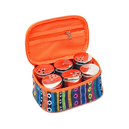 Outdoor Würzen Jar Set Gewürzbehälter 6 Stück Edelstahl Spice Shakers mit ethnischer Art Reisetasche für Camping