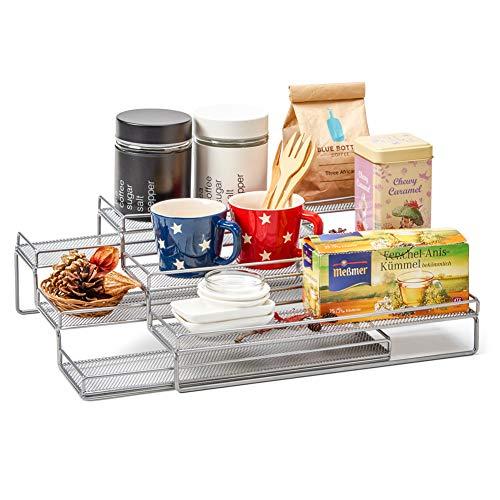 EZOWare 3-stufige ausziehbare Gewürztreppe, stehendes magnetisches Gewürzregal für Ihre Ordnung in Ihrer Küche - Silber