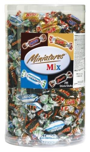 Miniatures Mix Schokoriegel   Mars, Snickers, Bounty, Twix   296 Riegel in einer Box (1 x 3 kg)