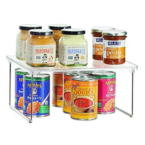 iDesign Küchenregal, kleines Gewürzregal aus Kunststoff und Metall, stapelbarer Küchen Organizer für Geschirr und Vorräte, durchsichtig und silberfarben