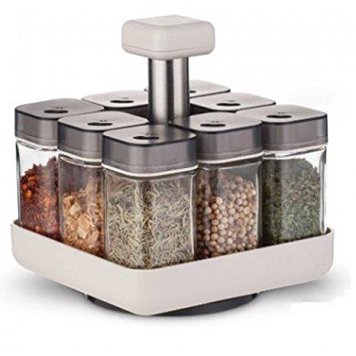 Gewürzregal Drehbar   Gewürzständer aus Glas/Kunststoff   Rotierendes Gewürzkarussell Pico mit 8 Gewürzgläsern (ohne Inhalt) der Marke Coninx   Gewürzregale