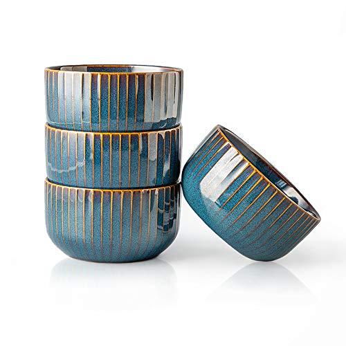 CSYY 4er Set Groß Müslischalen aus Porzellan,Keramik kleine Schalen,Dessertschale,Snackschale,Schüssel Retro Geschirr,Blau Serie(11.5CM)
