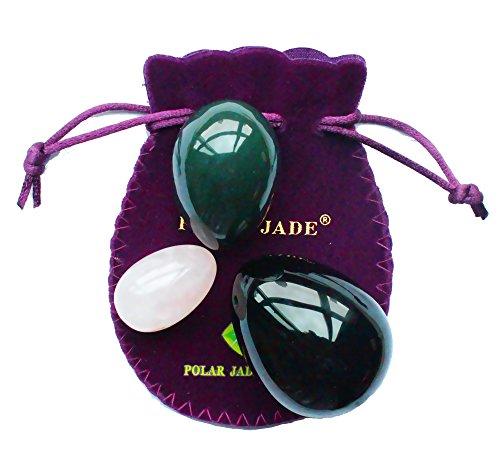 Yoni Eier Dreierset mit 3 Größen und 3 Gestein, gebohrt, mit ungewachste Seidenschnur & Anleitung, Aus Nephrit, Rosenquarz und Obsidian, für Yoni Liebe Muskeln Massage in Kegel-Übungen, Polar Jade