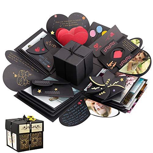 Sporgo Explosion Box, Geschenkbox, Kreative Überraschung Box DIY Fotoalbum Handgemachtes Scrapbook Geschenk für Geburtstag, Weihnachten, Jahrestag, Valentinstag, Heiratsantrag, Hochzeit (Quadrat)