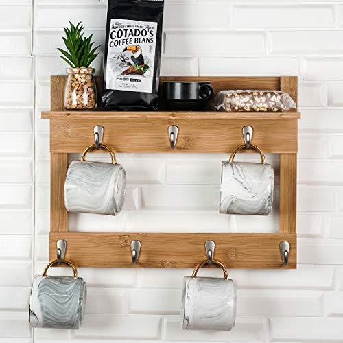 Wandmontiertes Tassen-Regal mit Ablage, Kaffeebecher-Halter, Holz, Bambus, mit 7 Haken (Bambus)