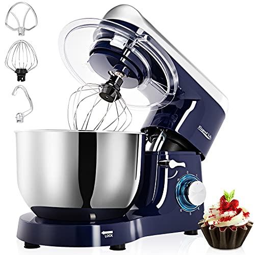 1500W Küchenmaschine Rührgerät,6-Gang-Teigmischer mit Kippkopf-5.5L Edelstahlschüssel,einschließlich Schläger,Teighaken,Schlagbesen und Spritzschutz,6 Geschwindigkeit mit Edelstahlschüssel Teigmaschin