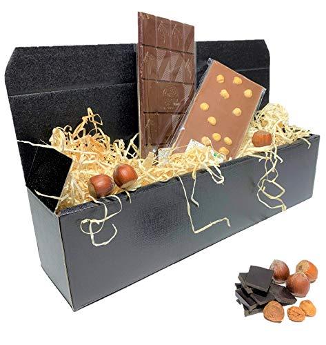 LUNASTO Handgeschöpftes Bio- Schokoladen Geschenk als Präsentkorb/ Geschenkkorb/ Geschenkidee für Frauen mit Bio- Haselnuss und Bio- Zartbitter-Chilli Schokolade für Geburtstag und Muttertag