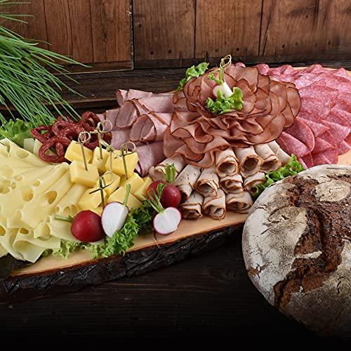 WURSTBARON® - Wurstplatten-Paket inkl. rustikalem Holzbrett - Set aus verschiedenem Wurst- und Käse Aufschnitt und Holzofenbrot