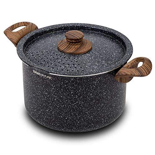 NAVA Topf/Kochtopf NATURE/Deckel mit Abseihfunktion/Granitbeschichtung 22 cm 5l für Gasherd Induktion