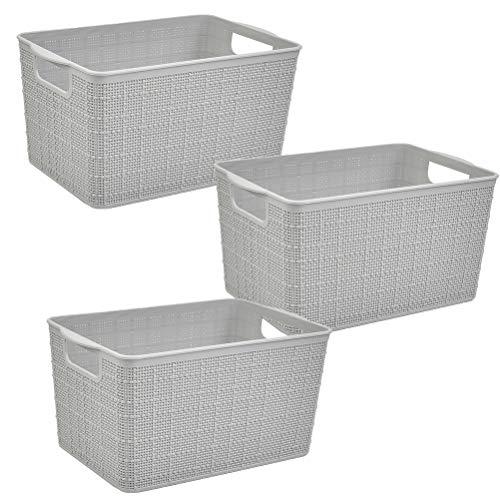 DODUOS 3 Stück Aufbewahrungskorb mit Griff | Kunststoffkorb Haushaltskorb Plastikkorb | Aufbewahrungskiste für Bad, Küche, Schlafzimmer - Grau & 27,3 x 18 x 14,2 cm