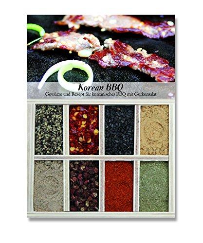 Korean BBQ – 8 Gewürze Set für das koreanische BBQ mit Gurkensalat (40g) – in einem schönen Holzkästchen – mit Rezept und Einkaufsliste – Geschenkidee für Feinschmecker von Feuer & Glas