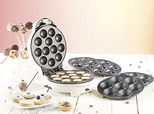 Rosenstein & Söhne Donatmaker: 3in1-Donut-, Cupcake- und Cakepop-Maker mit Antihaftbeschichtung (Cake Pop Maker 3 in 1)