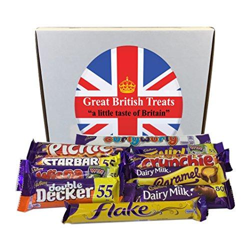 British Foods Worldwide Cadbury's Gift Box | 10 Cadbury's Bars: Picnic, Flake, Crunchie, Wispa, Star Bar, Curly Wurly, Double Decker, Dairy Milk, Twirl, Caramel