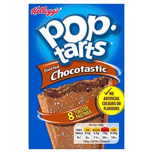 Kelloggs Pop Tarts Pop Tarts Chocotastic   US Frühstücksklassiker für den Toaster   8 Keksschnitten gefüllt mit Kakaocreme zum Toasten oder kalt Essen, 1 x 384g, 384 g