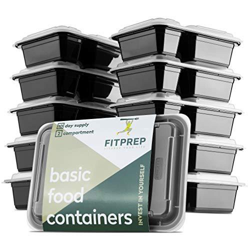 FITPREP Original 2-Fach Meal Prep Container Boxen im praktischen 10er Pack - inkl. schönem Rezeptheft