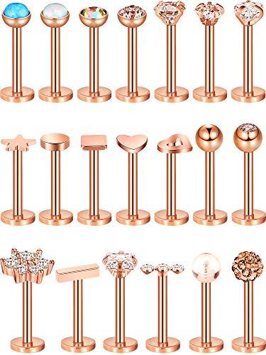 20 Stücke 16G Nasen Stecker Edelstahl Knorpel Ohrringe Helix Tragus Nasenstecker Lippen Piercing Schmuck für Damen Mädchen (Rose Gold)